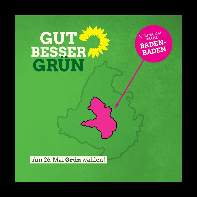 Auf einem grünen Untergrund sind die Umrisse des Landkreises Rastatt und des Stadtkreises Baden-Baden dargestellt, das wie das Eigelb in einem Spiegelei eingebettet ist. Um es besser zu erkennen ist die Farbe Magnet gewählt worden. Der Slogan lautet Gut, besser, Grün. Kommunalwahl Baden-Baden. Am 26. Mai Grün wählen.